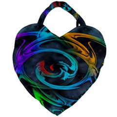 Rainbow Fractal Clouds Stars Giant Heart Shaped Tote by HermanTelo