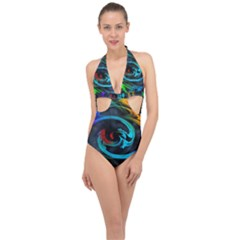 Rainbow Fractal Clouds Stars Halter Front Plunge Swimsuit by HermanTelo