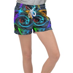 Rainbow Fractal Clouds Stars Women s Velour Lounge Shorts