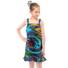 Rainbow Fractal Clouds Stars Kids  Overall Dress by HermanTelo
