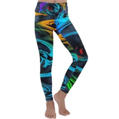 Rainbow Fractal Clouds Stars Kids  Lightweight Velour Classic Yoga Leggings by HermanTelo