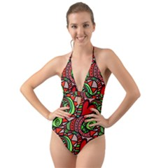 Seamless Heart Love Valentine Halter Cut Out One Piece Swimsuit