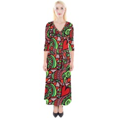 Seamless Heart Love Valentine Quarter Sleeve Wrap Maxi Dress by HermanTelo