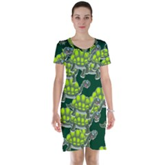 Seamless Turtle Green Short Sleeve Nightdress by HermanTelo