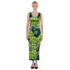 Seamless Turtle Green Fitted Maxi Dress