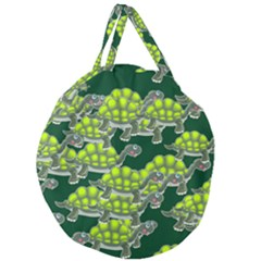 Seamless Turtle Green Giant Round Zipper Tote