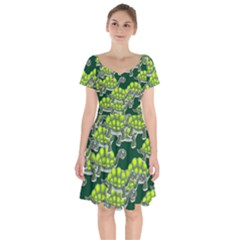 Seamless Turtle Green Short Sleeve Bardot Dress by HermanTelo