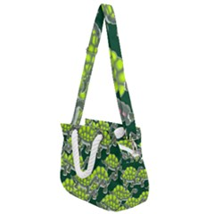 Seamless Turtle Green Rope Handles Shoulder Strap Bag by HermanTelo