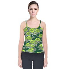 Seamless Turtle Green Velvet Spaghetti Strap Top