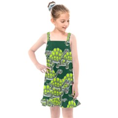 Seamless Turtle Green Kids  Overall Dress by HermanTelo
