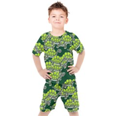 Seamless Turtle Green Kids  Tee And Shorts Set by HermanTelo