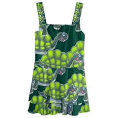 Seamless Turtle Green Kids  Layered Skirt Swimsuit