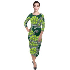 Seamless Turtle Green Quarter Sleeve Midi Velour Bodycon Dress by HermanTelo