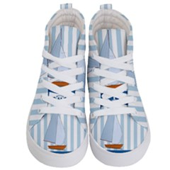 Yacht Boat Nautical Ship Kids  Hi Top Skate Sneakers