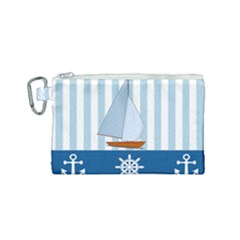Yacht Boat Nautical Ship Canvas Cosmetic Bag (small)