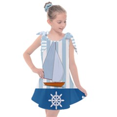 Yacht Boat Nautical Ship Kids  Tie Up Tunic Dress