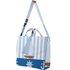 Yacht Boat Nautical Ship Square Shoulder Tote Bag