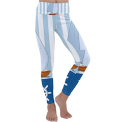 Yacht Boat Nautical Ship Kids  Lightweight Velour Classic Yoga Leggings