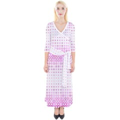Square Pink Pattern Decoration Quarter Sleeve Wrap Maxi Dress by HermanTelo