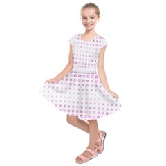 Square Pink Pattern Decoration Kids  Short Sleeve Dress by HermanTelo