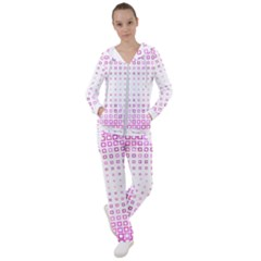 Square Pink Pattern Decoration Women s Tracksuit