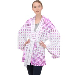 Square Pink Pattern Decoration Velvet Kimono Robe