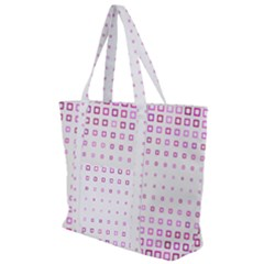 Square Pink Pattern Decoration Zip Up Canvas Bag