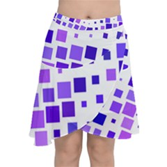 Square Purple Angular Sizes Chiffon Wrap Front Skirt
