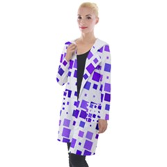 Square Purple Angular Sizes Hooded Pocket Cardigan by HermanTelo