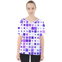 Square Purple Angular Sizes V-neck Dolman Drape Top