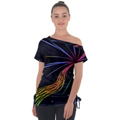 Stars Space Firework Burst Light Tie Up Tee by HermanTelo