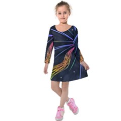 Stars Space Firework Burst Light Kids  Long Sleeve Velvet Dress by HermanTelo