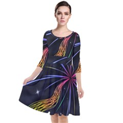 Stars Space Firework Burst Light Quarter Sleeve Waist Band Dress