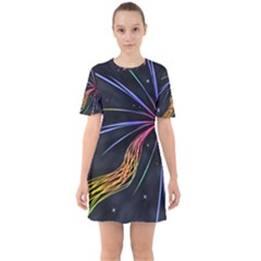 Stars Space Firework Burst Light Sixties Short Sleeve Mini Dress