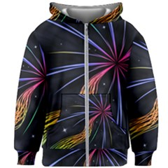 Stars Space Firework Burst Light Kids  Zipper Hoodie Without Drawstring by HermanTelo