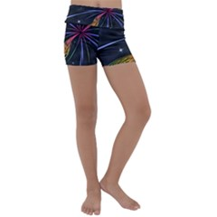 Stars Space Firework Burst Light Kids  Lightweight Velour Yoga Shorts by HermanTelo