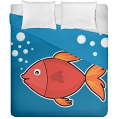 Sketch Nature Water Fish Cute Duvet Cover Double Side (california King Size)