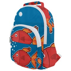 Sketch Nature Water Fish Cute Rounded Multi Pocket Backpack