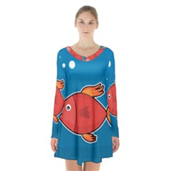 Sketch Nature Water Fish Cute Long Sleeve Velvet V Neck Dress