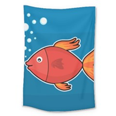 Sketch Nature Water Fish Cute Large Tapestry