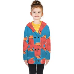 Sketch Nature Water Fish Cute Kids  Double Breasted Button Coat
