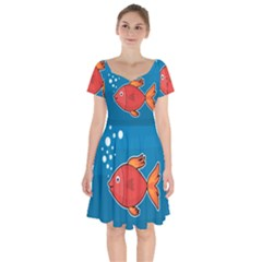 Sketch Nature Water Fish Cute Short Sleeve Bardot Dress