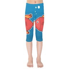 Sketch Nature Water Fish Cute Kids  Capri Leggings  by HermanTelo