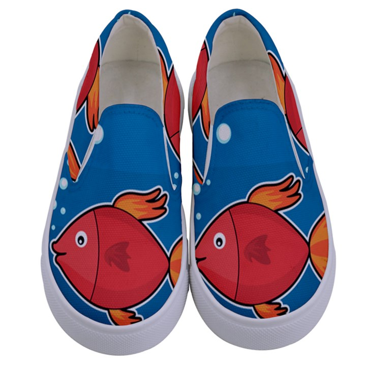 Sketch Nature Water Fish Cute Kids  Canvas Slip Ons
