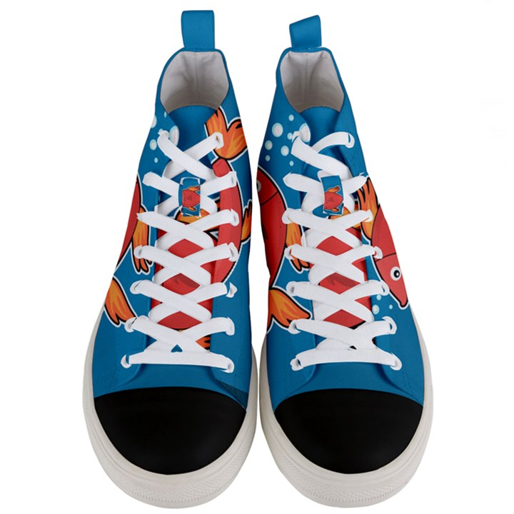 Sketch Nature Water Fish Cute Men s Mid-Top Canvas Sneakers