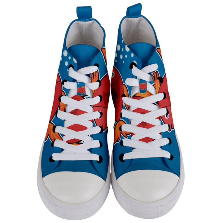 Sketch Nature Water Fish Cute Women s Mid-Top Canvas Sneakers
