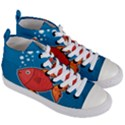 Sketch Nature Water Fish Cute Women s Mid-Top Canvas Sneakers View3