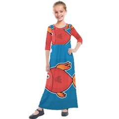 Sketch Nature Water Fish Cute Kids  Quarter Sleeve Maxi Dress by HermanTelo