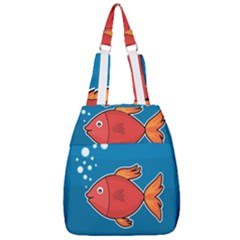Sketch Nature Water Fish Cute Center Zip Backpack by HermanTelo