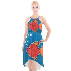 Sketch Nature Water Fish Cute High Low Halter Chiffon Dress